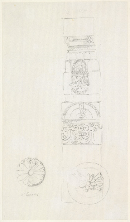 Drawing from a set of sixteen architectural details from Hindu and Muhammadan buildings in India, including Colgong, Deo, Bodhgaya. 1788-93 1785